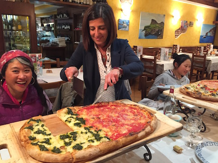 We were treated by Sonia and Alessandro to a authentic gigantic Italian Pizzas.