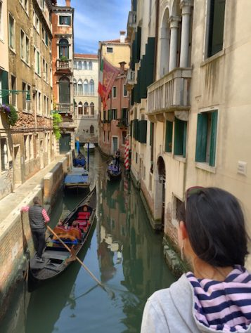Joani was mesmerized by the serenades from the passing gondolas in Venice.