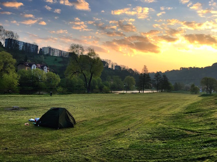 The sunrise at our campsite in Cesky Krumlov, Czech Republic was magnificent.