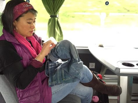 Sewing pants for Olivia on the bus from Paris to Bonn.